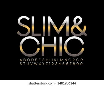 Vector Slim and Chic Alphabet. Metallic Uppercase Font. Gold and Silver Letters and Numbers