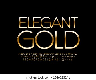 Vector Slim Golden Alphabet. Elegant glossy Font. Chic Letters, Numbers and Symbols.