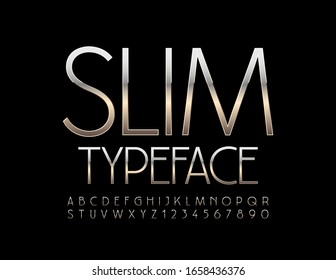 Vector Slim Silver Alphabet. Luxury set of Shiny Letters and Numbers.