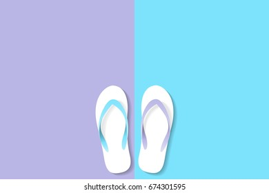 vector slippers Rubber types pastel violet blue color ,walk together,counterpart concept.