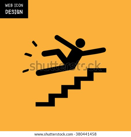 vector slippery stairs warning sign illustration stock vector