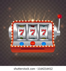 Vector slot machine with bright lights isolated on transparent background. Big win 777 lottery casino. One armed bandit illustration. lucky seven gambling.