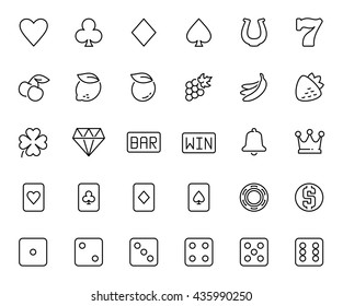 Vector slot machine symbols and casino related icon set