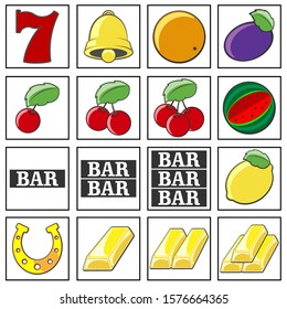 Vector slot machine symbols set. Lucky number seven, Golden bell, orange, plum, one two and three cherries. Watermelon. The inscription BAR. Lemon, horseshoe. One two and three bars of gold. Isolated