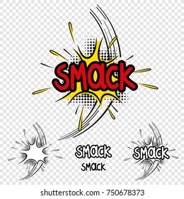 "Vector ""Smack"" Comic Illustration with Black and White Version and single elements"