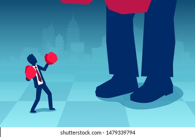 Vector of a small businessman in boxing gloves fighting a big boss