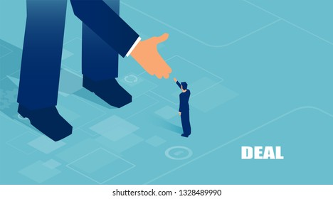 Vector of small businessman supported by unknown big investor giving him opportunity.