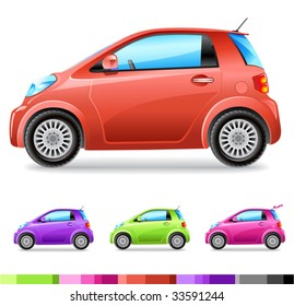 vector small car (4 colours)