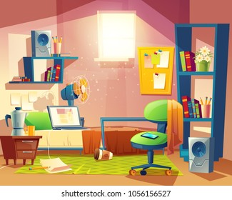 Vector small room with mess, cartoon bedroom, dormitory with furniture. Student, pupil cozy apartment with bed, laptop, armchair, carpet, bookshelf, loudspeakers, fan board Architecture background