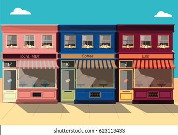 Vector  small Townscape, flat design square architecture detailed store facades
