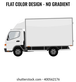 Vector small truck. Cargo delivery. Solid and Flat color  design. White truck car for transportation. Corporate identity.