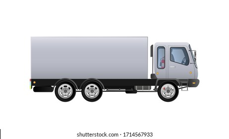 Vector small truck side view. Delivery of cargo. Solid and flat color design. White truck for transportation. Isolated on a white background.