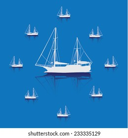 Vector small yachts on the blue background.