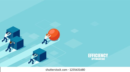 Vector of a smart businessman pushing a sphere leading the race against a group of slower businessmen pushing boxes. Winning strategy in business concept