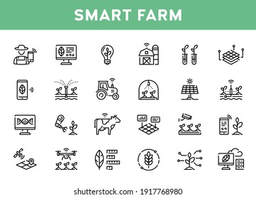 Vector smart farm icon set. Outline symbols of technology agriculture. Innovation farmer management concept. Clear and simple digital farming elements