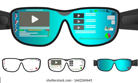 Vector smart glasses, VR virtual reality and augmented reality technology. Watching videos, monitoring your heart rate and finances in the market. Smart glasses menu.