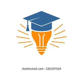 Vector Smart Graduation Hat University with Light Bulb Sign Symbol Icon Logo Design Inspiration