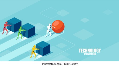 Vector of a smart modern robot pushing a sphere leading the race against a group of slower robots pushing boxes. Winning strategy in technology development concept