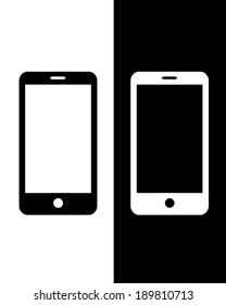 Vector Smart Phone Icon Set in Black and Reverse