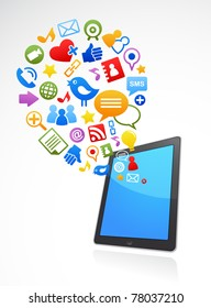 vector smart phone social media icons