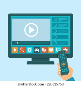Vector smart tv concept - illustration in flat style with apps and video player on screen and hand holding remote control