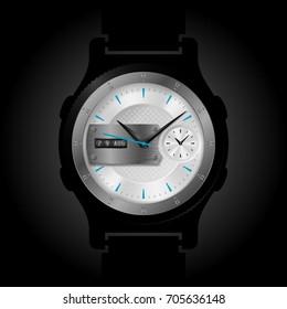 Vector smart watch face design illustration. Modern gadget conceptual interface.