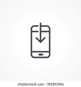 Vector smartphone with down arrow. Smartphone flat line icon. Mobile download icon in line style. Phone icon for apps and websites. Vector illustration