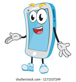 Vector smartphone funny character mobile device presenting talking about your business education