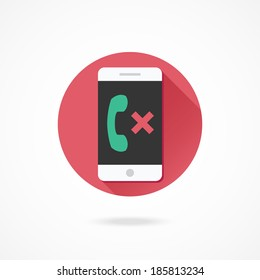 Vector Smartphone Missed Call Icon