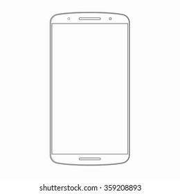 Vector smartphone outline template. Wireframe contour of modern mobile phone, cellphone isolated on white background. Device icon or symbol