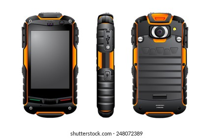 Vector smartphone, rugged IP67 waterproof, shockproof, dustproof, smartphone, mobile phone, communicator, vector, isolated