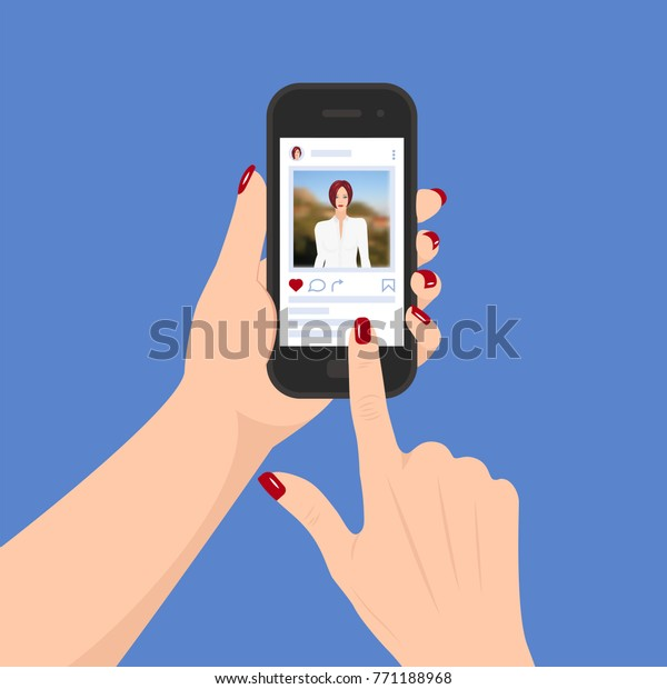 Vector smartphone with social media app in the hands of a woman. Scrolling  page and pushing like concept.