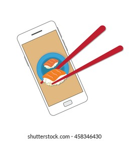 Vector of smartphone and sushi for Ecommerce concept, online shushi delivery