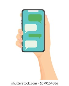 Vector of Smartphone using chatting sms app.