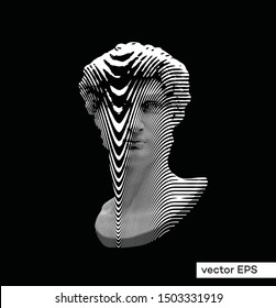 Vector smeared horizontal line halftone black and white illustration of classical statue bust of male figure from 3D rendering.