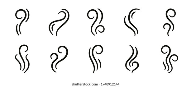 Vector smell icon. Set of smoke, steam, vapour illustration