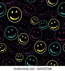 Vector smile icon seamless pattern.  Vector Background Texture. For print, icon, logo, poster, symbol, design, decor, textile, paper, card, invitation, holiday. Eps10.