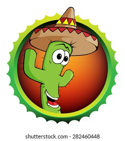 Vector smiley cactus mascot with sombrero