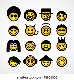 Vector smiley faces. Funny characters.