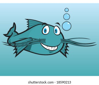 vector smiling cartoon catfish in lake