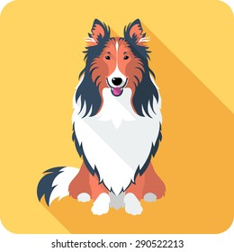 Vector smiling dog Rough collie red and black sitting icon flat design