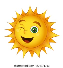 Vector smiling sun isolated on a white background
