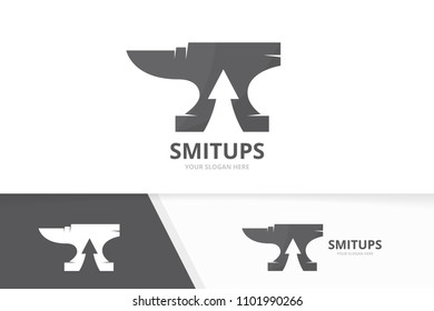 Vector smith and arrow up logo combination. Blacksmith and growth symbol or icon. Unique metal and upload logotype design template.