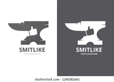 Vector smith and like logo combination. Blacksmith and best symbol or icon. Unique metal and choice logotype design template.