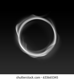 Vector smoke circle isolated on dark background