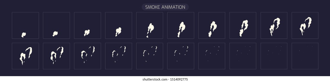 Vector Smoke Effect. Explode effect animation. Sprite Sheet for Video Game or Cartoon. 2D Classic FX Effect.  EPS 10 Vector illustration.