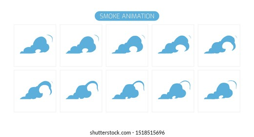 Vector Smoke Frame. Sprite Sheet Smoke Explosion for App,  Video Game or  Classic Cartoon. 2D FX Effect. EPS 10 Vector illustration.