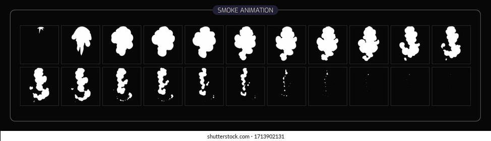 Vector Smoke Frame. Sprite Sheet Smoke Explosion for App,  Video Game or Cartoon. 2D Classic FX Effect. EPS 10 Vector illustration.