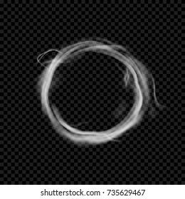Vector smoke ring. Realistic circle vape texture. Transparent cloud shape
