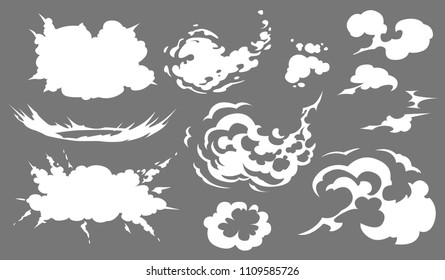 Vector smoke set special effects template. Cartoon steam clouds, puff, blast, mist, fog, watery vapour or dust explosion 2D VFX illustration. Clipart element for game, advertising, menu and web design